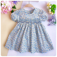 Girl Smocked Dress Summer Cotton Girl Flower Dress Fashion Baby Boutique Clothes Kids Party Princess Beautiful Dress G108