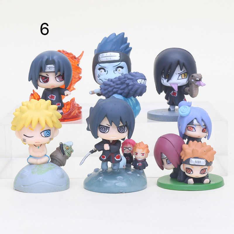 6 pçs/set 6 cm Bonito Naruto Gaara Sasuke Naruto Anime Figuras de Ação Crianças Brinquedos Coleção Modelo com Animais Crianças Brinquedos
