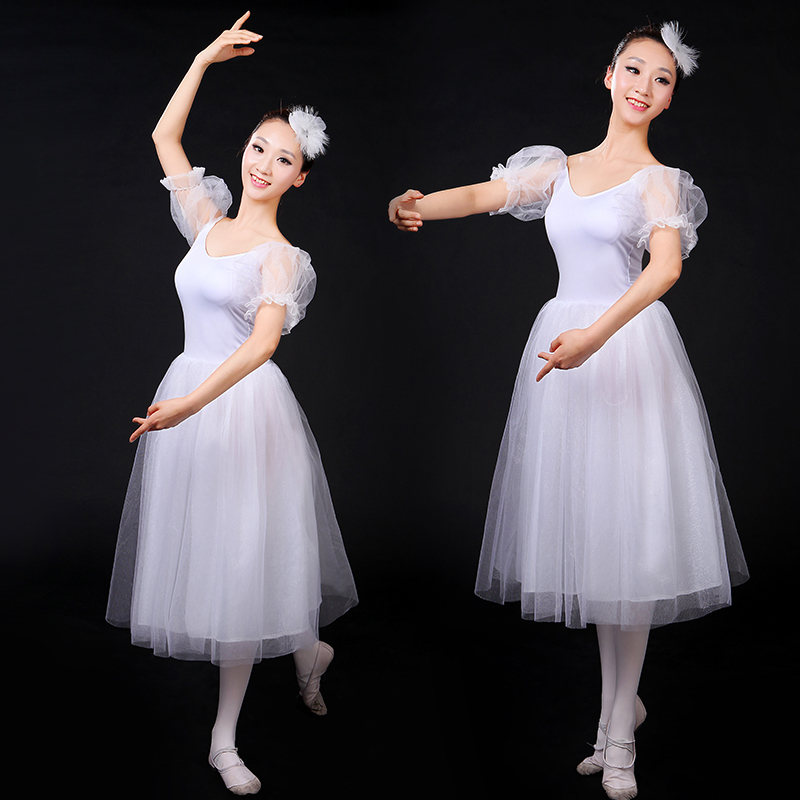 2017 New Romantic Ballet Tutus White Adult Puff Sleeve long Tulle Giselle Ballet Costumes