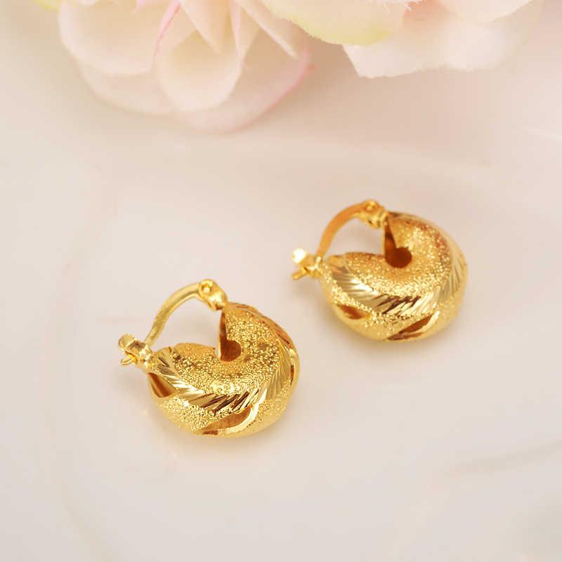 2 pairs vàng Sudan Earrings Phụ Nữ/Cô Gái Vàng Màu Arab Trang Sức Châu Phi hoop Earring Wedding dễ thương trẻ em charms quà tặng