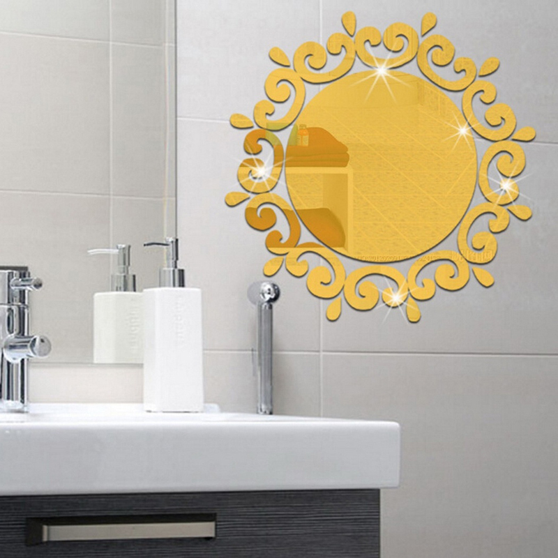 New Arrive Mirror Wall Stickers Sunflower Diy Decor Living Room Bedroom Bathroom Home Sticker Gold Silver Gi871090 In From