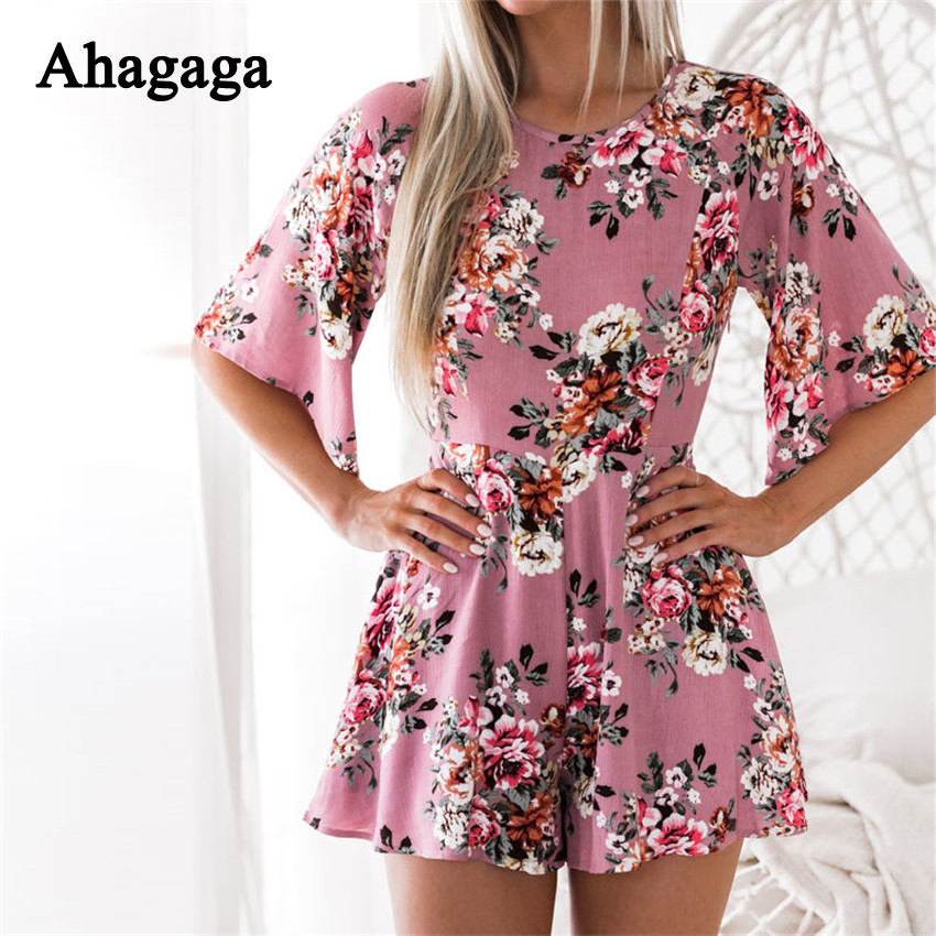 Ahagaga 2018 Spring Summer Rompers Woman Jumpsuits Fashion Floral Print Loose Sexy Women Playsuits Regular Casual Women Jumpsuit 1