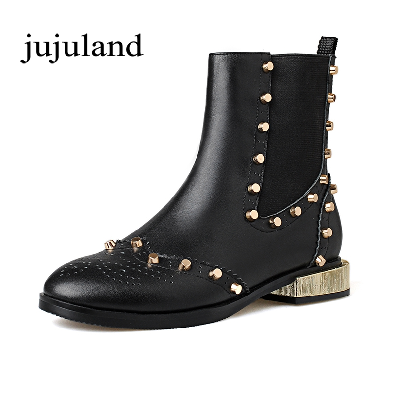 цены Spring/Autumn Women Shoes Ankle Boots Martin Chelsea Boots Genuine Leather Slip-on Round Toe Low Heels Rivet Elastic band Plus