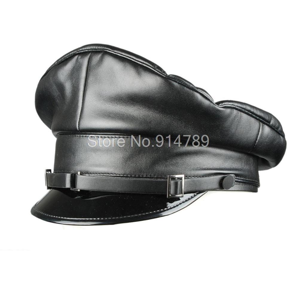 Wwii German Artificial Leather Pu Crusher Cap Hat Black