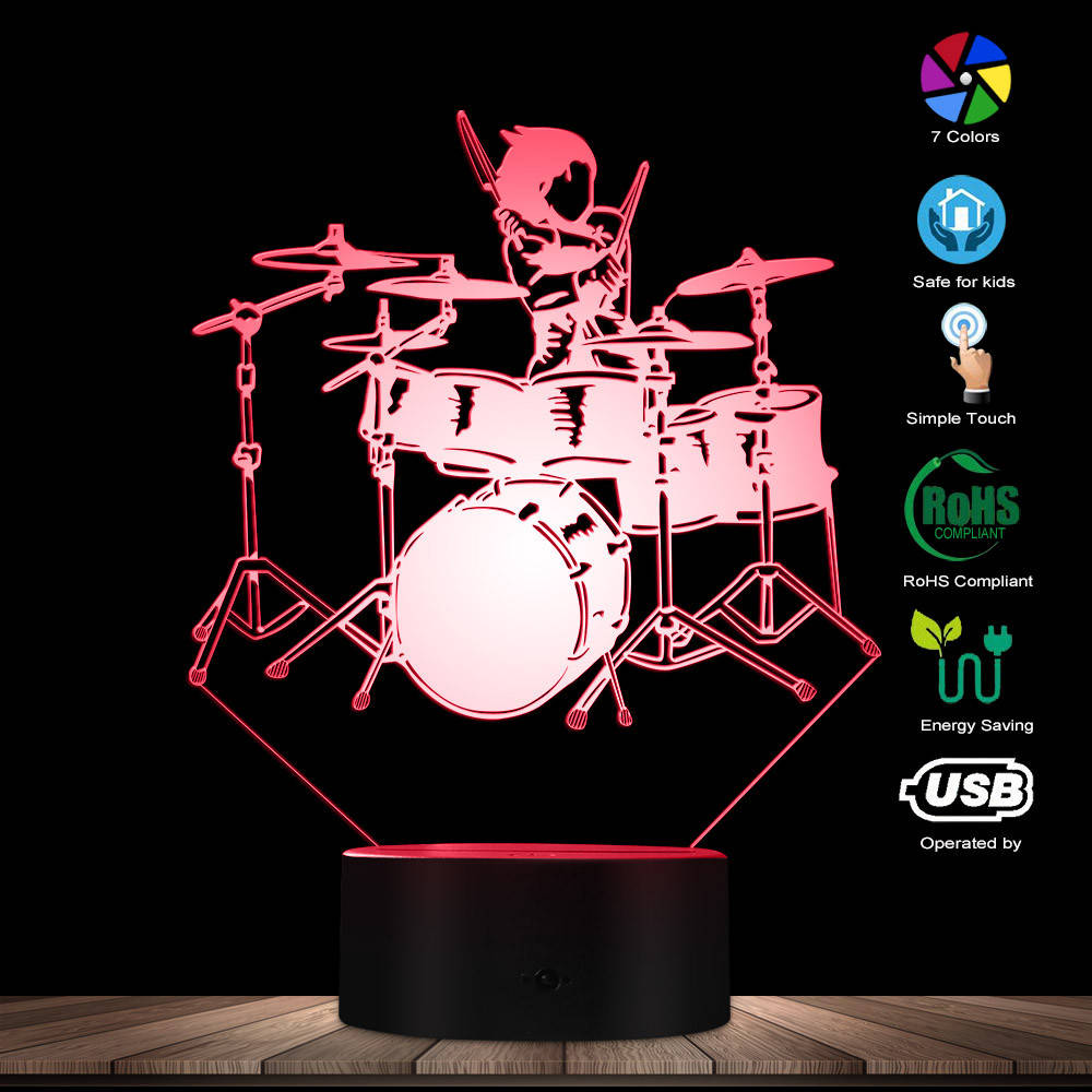 Drum And Drummer 3D Visual Lights Drummer Beating Drums LED Night Lights Color Changing LED Actylic Display Drum Kit Sign Decor