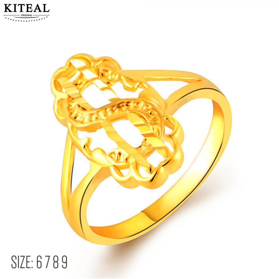 KITEAL Fashion Design pure gold color rings for women dollar shape ...