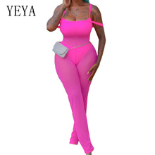 YEYA Womens Summer High Quality 3-Pieces Sets See Through Mesh Jumpsuits Elegant Sleeveless Bodycon Bodysuits Ladies Combinaison red see through lace details sleeveless bodysuits