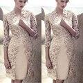Haute Couture elegante madre de la novia vestido de 2017 Más El Tamaño 2 unidades con la Chaqueta Madre Vestido Mae Da noiva vestidos de Novia