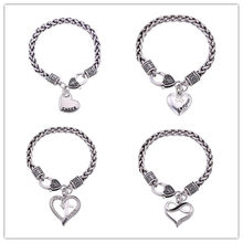 Dawapara Heart Shape And Cheer Pendant Bracelets For Men I Love My Cat Charm Bangles Heart ans Cross Charm Bracelets For Women(China)