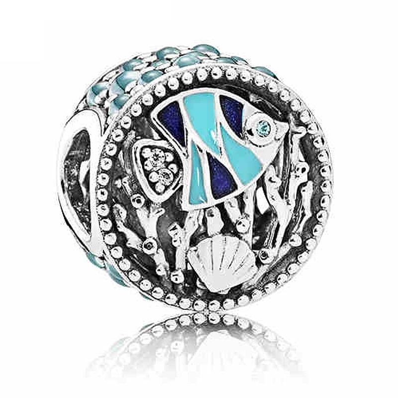 Fit Original Pandora Charm Bracelet 925 Sterling Silver Underwater World Charm Beads For Women DIY Jewelry Making 2018 Autumn