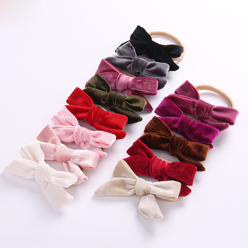Baby Girls Headband Multi Colors Velvet Bow Knot Head Bandage Kids Toddlers   Headwear   Hair Band Infant Clothing Accessories