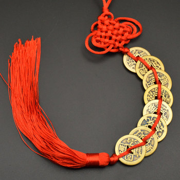 Chinese manual Knot Fengshui Lucky Charms Ancient I CHING Copper Coins Mascot Prosperity Protection Good Fortune Home Car Decor 24