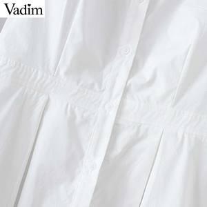 Image 4 - Vadim נשים שיק לבן ארוך חולצה סימטרי ארוך שרוול צווארון עומד קפלים חולצה מוצק נקבה מקרית חולצות blusas LA465