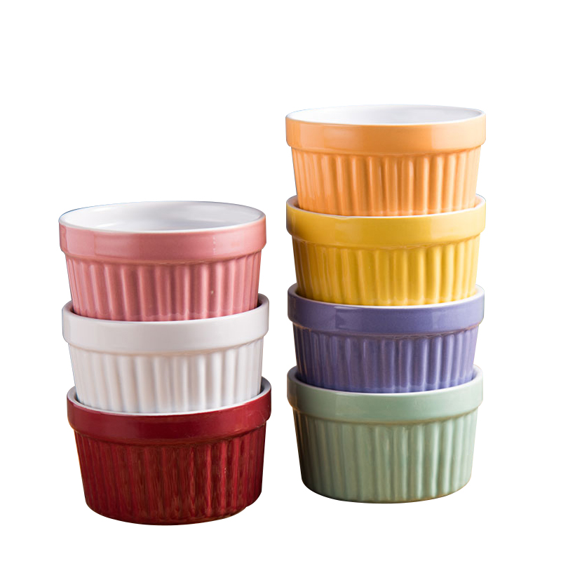 6pc Ceramic Souffle pudding baking cake cups bowls 150ml porcelain yogurt Ice cream dessert tray serving