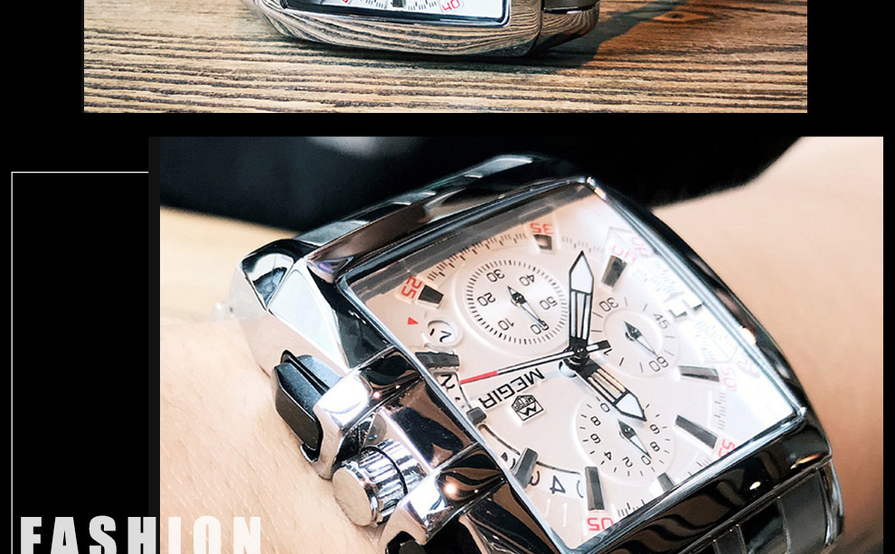 2018-En_19  MEGIR Males's Large Dial Luxurious Prime Model Quartz Wristwatches Artistic Enterprise Stainless Metal Sports activities Watches Males Relogio Masculino HTB1dBiyDx1YBuNjy1zcq6zNcXXaR