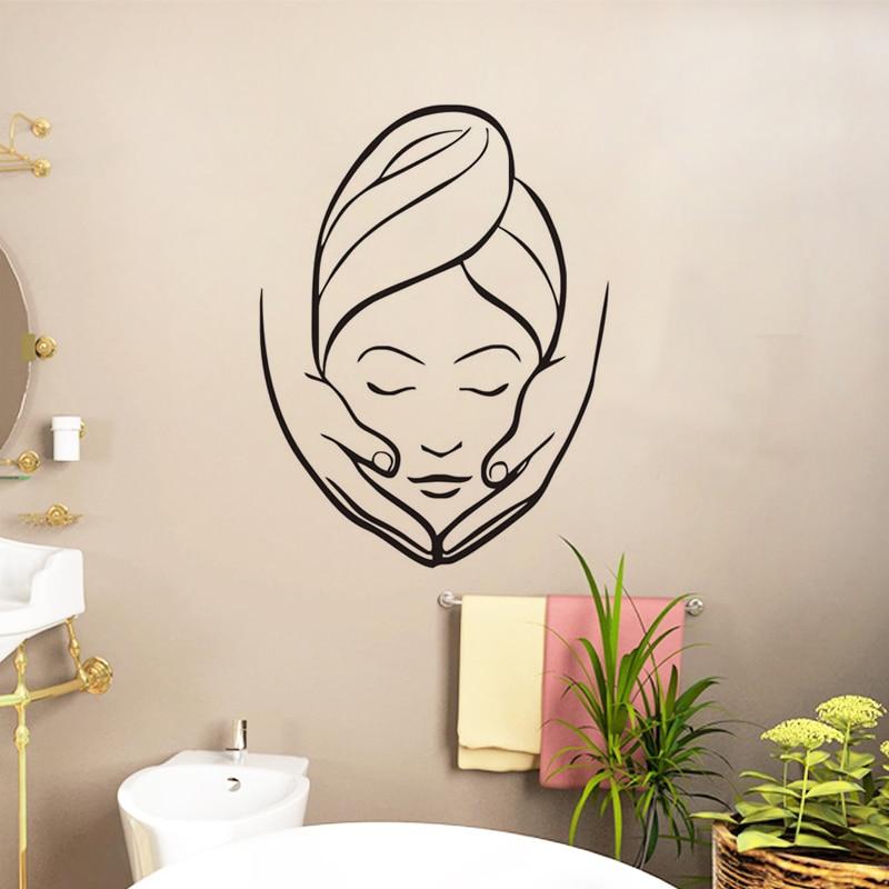 EHOME Spa Beauty Salon Wall Stickers Creative Girl Massage