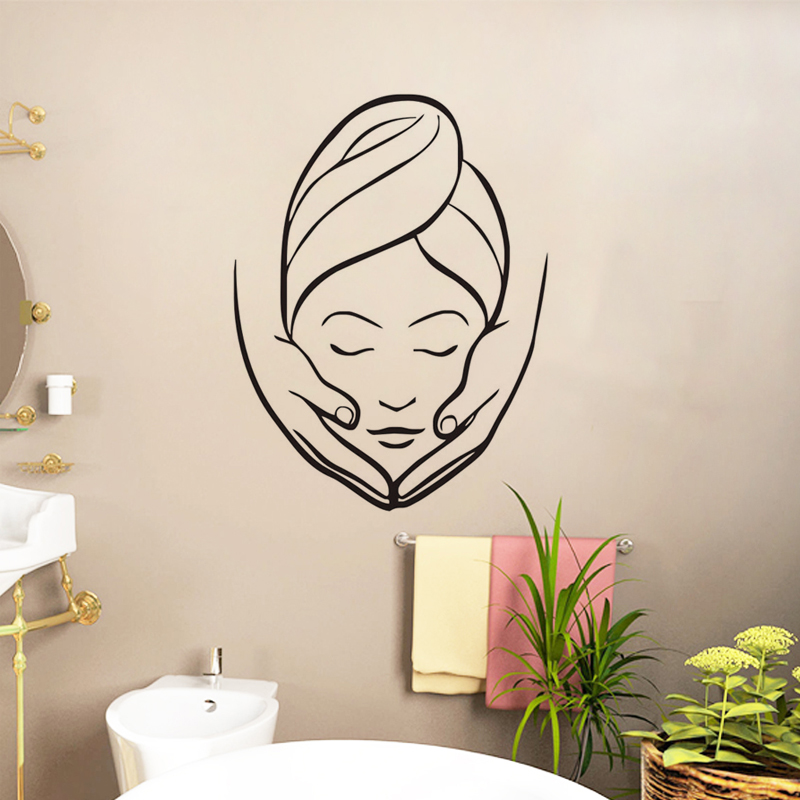 Spa beauty salon wall stickers creative girl massage wall murals bathroom wall decorative wall - Stickers salon design ...