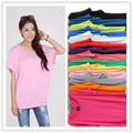 11 colors new 2017 plus size t-shirts women o-neck short batwing sleeve color modal cotton loose tops tees girl clothing casual