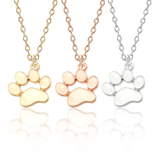 Simple Dog Footprints Footprint Necklace For Women Golden Silver Pet Pendant Animal Alloy Jewelry Gift Free Shipping