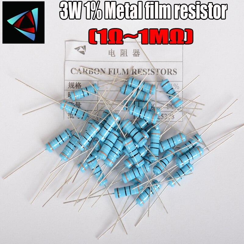 20pcs 3W Metal Film Resistor 1% 1R ~ 1M 1R 4.7R 10R 22R 33R 47R 1K 4.7K 10K 100K 1 4.7 10 22 33 47 4K7 Ohm