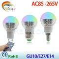 GU10 RGB LED Lamp E27 220V Spotlight Lampada LED light E14 85-265V Christmas Lanterna Bombillas LED Bulb E27 With Remote Control