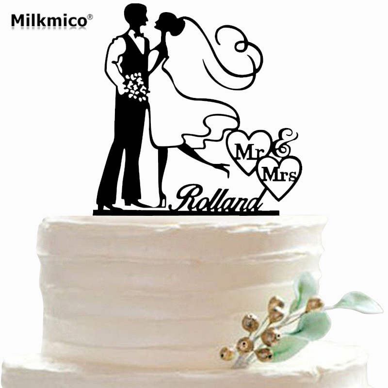 Bride And Groom Cake Toppers Party Custom Name Cupcake Topper Picks For Wedding Cake Accessories Wedding Decorations Supplies Bride And Groom Bride And Groom Caketopper Picks Aliexpress