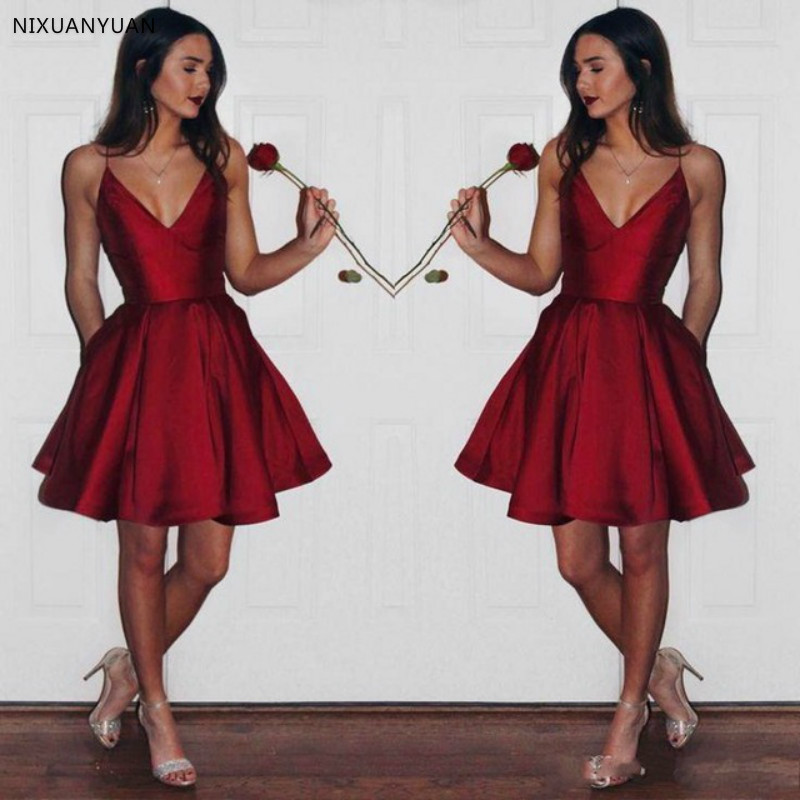 Cheap V Neck   Prom     Dress   Burgundy Robe Girls   Prom   Gown Short Vestido De Festa Longo 2019