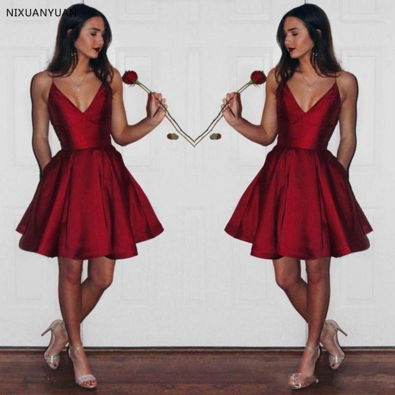 Cheap V Neck   Prom     Dress   Burgundy Robe Girls   Prom   Gown Short Vestido De Festa Longo 2019