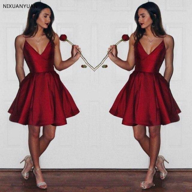 זול V צוואר שמלה לנשף בורגונדי Robe בנות לנשף שמלת קצר Vestido דה Festa לונגו 2019