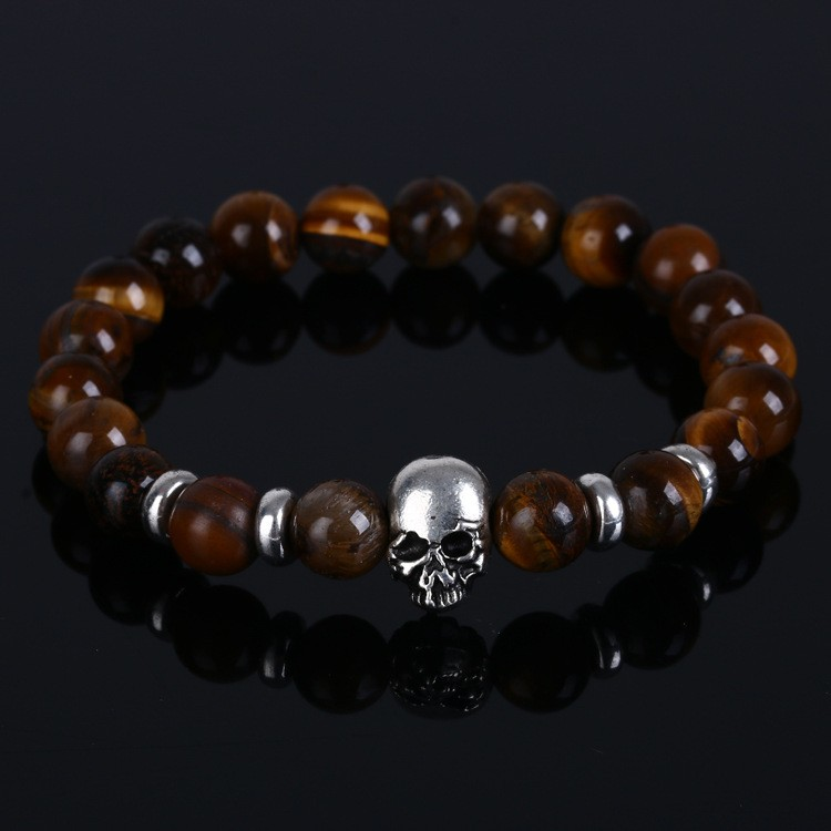 Hot vintage Tiger Eye Natural Stone Skull Bracelets & Bangles with sliver plated Lava Beads Bracelets For women and men Jewelry