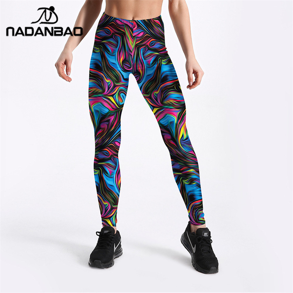 NADANBAO Ray Fluorescence Leggings Women Colorful Striped High Waist Plus Size Legging Workout Elastic Abstract Art Pant