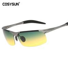 COSYSUN Day & Night Vision HD Driving spolaryzowane okulary męskie okulary do jazdy przeciwodblaskowe aluminiowe okulary stop magnezu 817