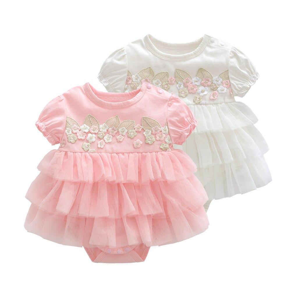 401f0312e Verano bebé niña vestido bautismo para Recién Nacido bebé niña ropa Rosa set  2 niños vestidos de flores para niñas boda bebé ropa