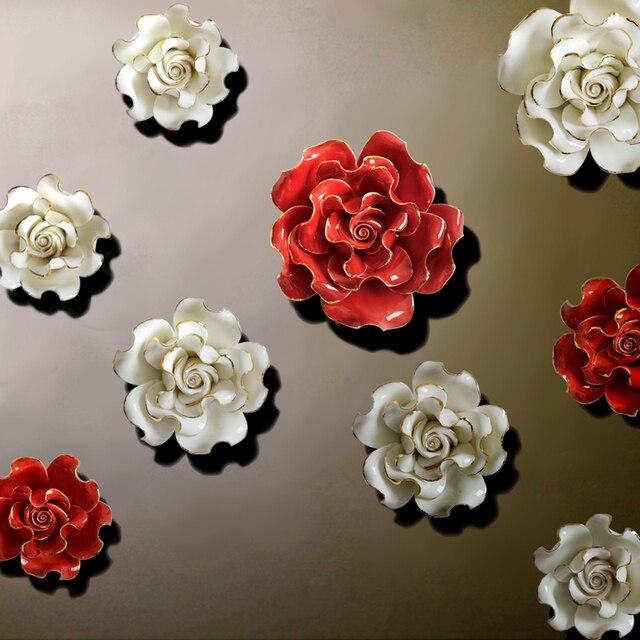 Рождество Аксессуары пастырской 3D Керамика цветы стены Украшения Наклейки на стену Творческий ТВ Задний план кулон гобелены