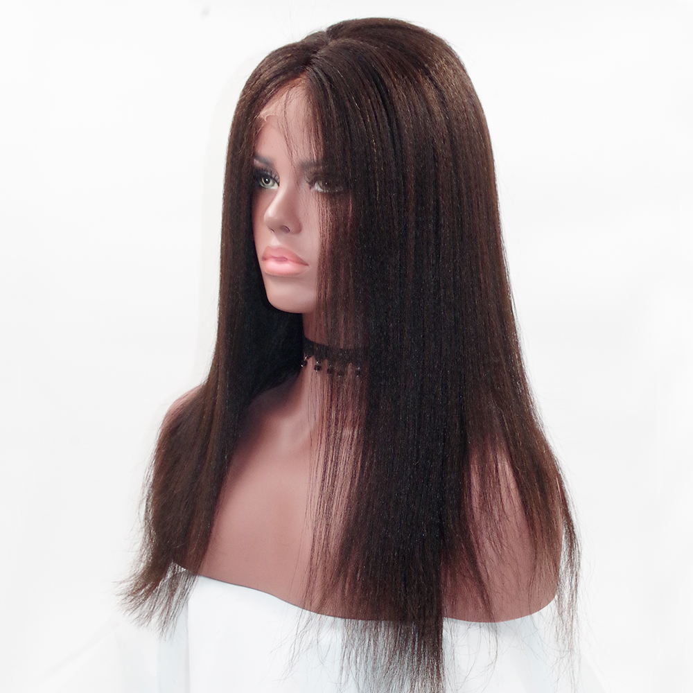 Eversilky 360 Lace Frontal Wig Light Yaki Straight Brazilian Remy Human Hair Wigs For Women 150% Density 360 Lace Front Wigs