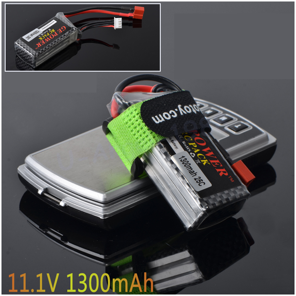 1pcs GE Power 7.4V 11.1V 1300Mah 25C MAX 40C T Plug Lipo Battery 2S 3s for RC Car Airplane Helicopter 1pcs lion power lipo battery 11 1v 1200mah 25c max 40c t plug for rc car airplane helicopter