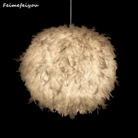 Feimefeiyou Best Valentine's Day Gift For Lover Heart Shape Feather lampada led Pendant Lamp with Led Bulb 3 colors