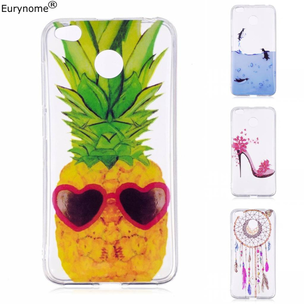 Popular Cute Cartoon girl flower pineapple soft silicon TPU transparent back cover case for Xiaomi redmi 4x redmi4x prime + pen