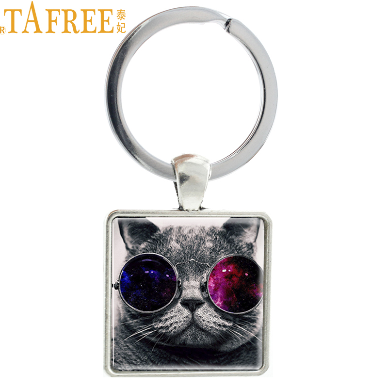 TAFREE Good Quality Wholesale New Fashion Cool Cat Charm Key Chain Pendant Black Cat Keychain Women Men Jewelry Gift  E376