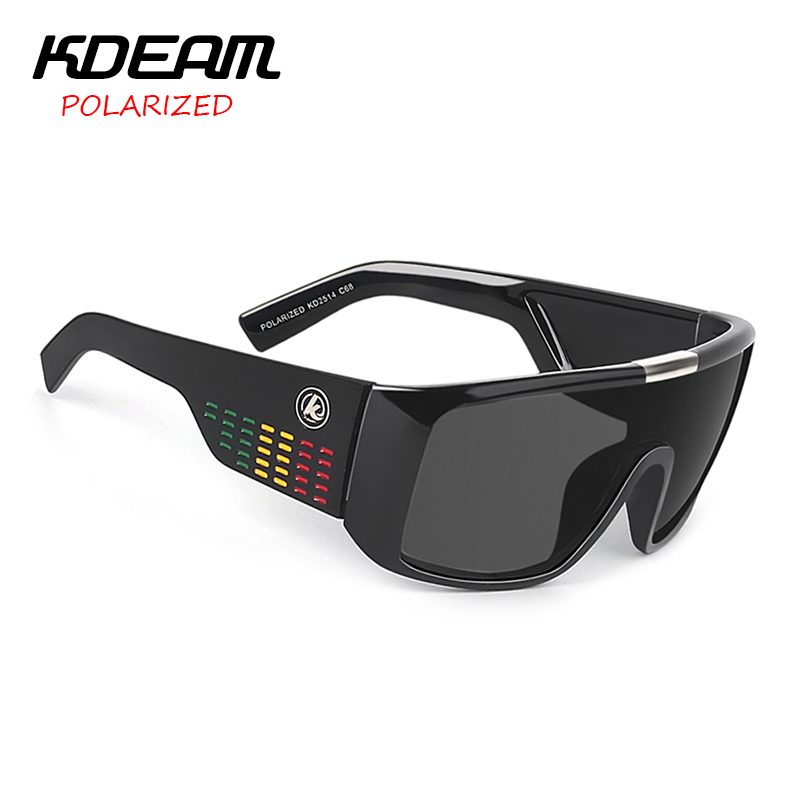 KDEAM Windproof Sunglasses Men Polarized Sport Goggle Sun Glasses Shield Reflective Coating Original Case 8 Colors KD2514