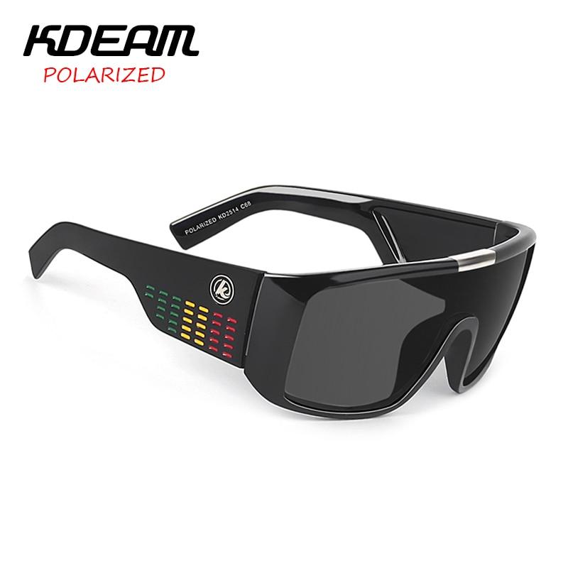KDEAM Windproof Sunglasses Men Polarized Sport Goggle Sun Glasses Shield Reflective Coating Original Case 8 Colors KD2514