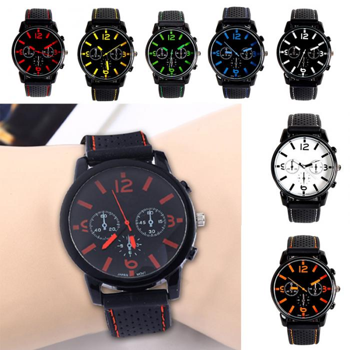 Cool Men Watch Casual Brand Clock Fashion Men's Military Quartz Clock Silicone Strap Belt Big Dial Watches Men Wristwatches LL men causal military quartz watch silicone stripe strap wristwatch casual sports watches date clock gifts for boy friend ll 17