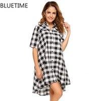 Seksi Gecelik Kareli Gömlek Elbise Kadın Pamuk Nightie Rahat Yaz Kadın Gecelik Gecelik Pijama Gece Gömlek Siyah XL