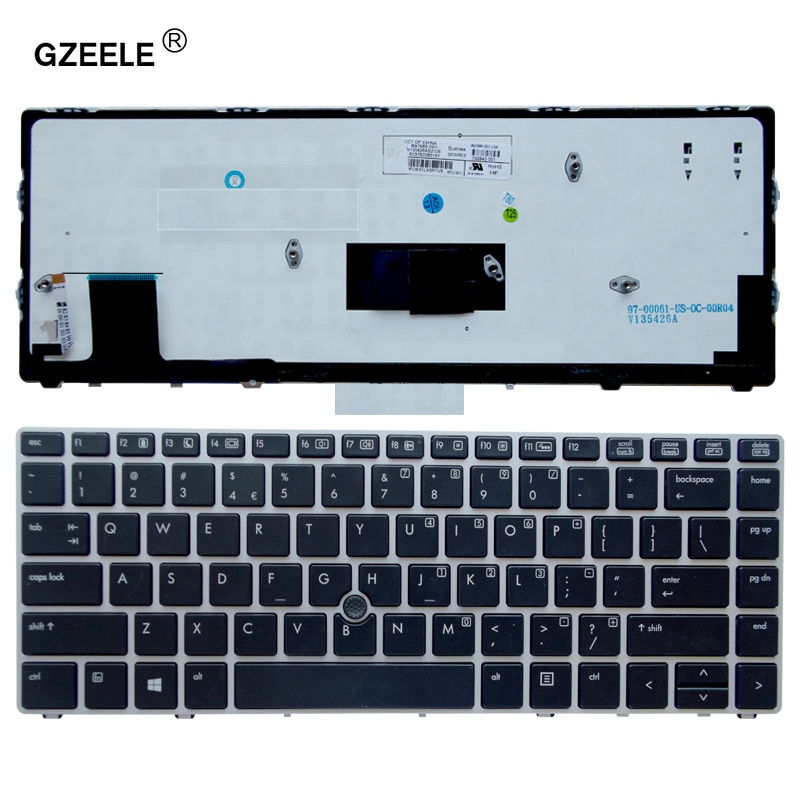 цены GZEELE Laptop keyboard for HP EliteBook Folio 9470M 9470 9480 9480M 702843-001- US Backlit Replace Laptop Keyboard Silver