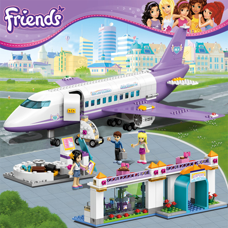 701Pcs 79175 City Girls Friends Plane Airport Educational Building Blocks Toys For Children Gifts Compatible With Legoe gudi block city large passenger plane airplane block assembly compatible all brand building blocks educational toys for children