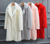 Newest Womens Long Section Imitation Mink Fur Jackets Fashion Female Solid Color Female Fake Fur Overcoats Warm Outwears K1145