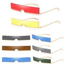 Fashion Half Frame Small Rectangle Sunglasses Women Brand Designer Ins Popular One Piece Red Shades Men gafas de sol mujer