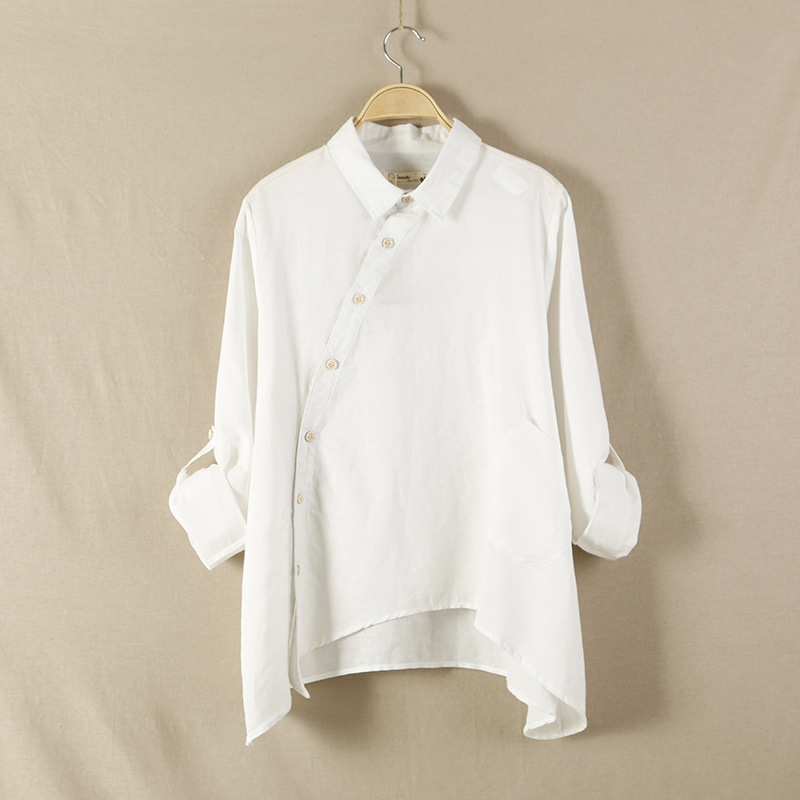 Buy online ropa camisa natural cotton linen women blouse for White linen ladies shirt