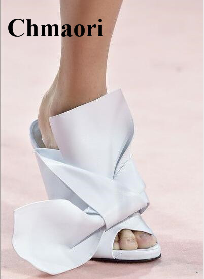 Summer Solid Silk Big Butterfly-knot Sexy Women Slippers Outside Thin High Heel Fashion Women Slippers Sexy Heel venchale 2018 summer new cow leather solid outside butterfly knot high thin heel three colors casual pointed toe women s slides