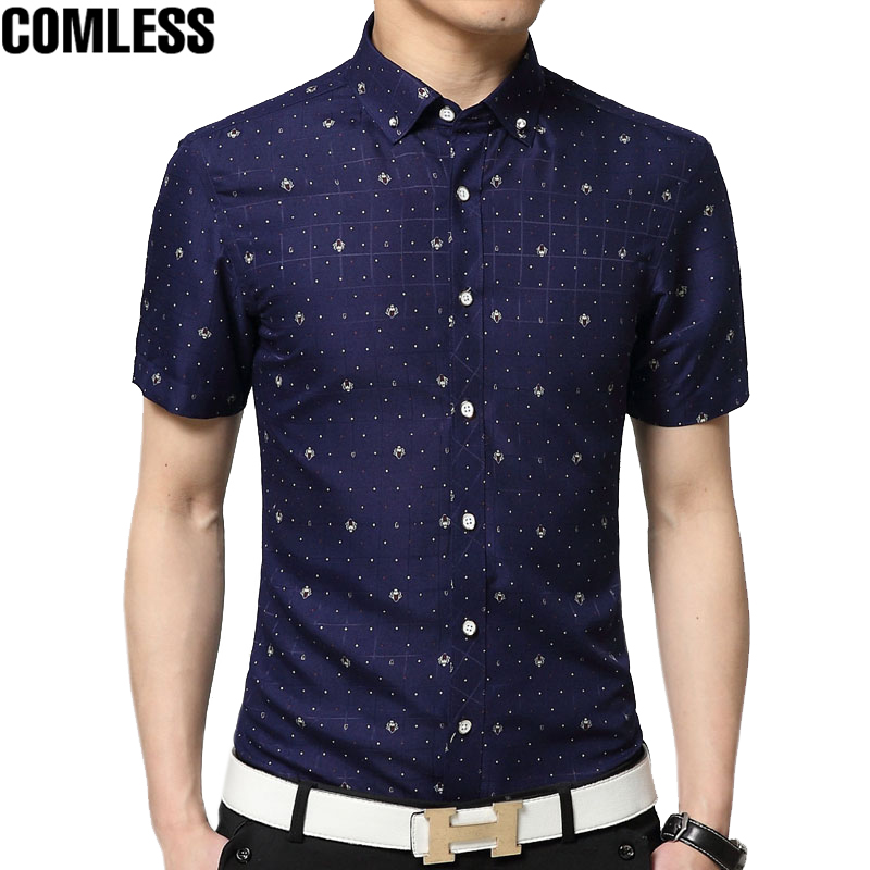 2017 men 39 s printed short sleeve casual shirts high quality for Mens polka dot shirt short sleeve